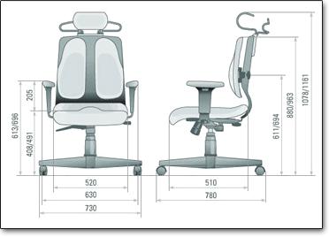 Офисное кресло для руководителя Duorest Cabinet DR-150 A ― Размеры