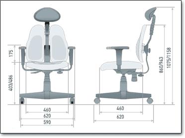 Компьютерное кресло Duorest Lady DR-7900 ― Размеры