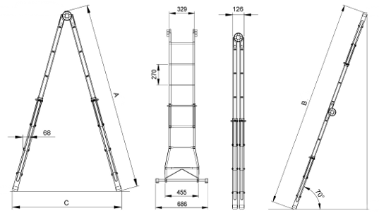 Лесница металлическая Elkop B 44 FS