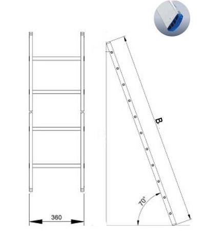 Лестница алюминиевая 1-о секционная Elkop VHR H1x14