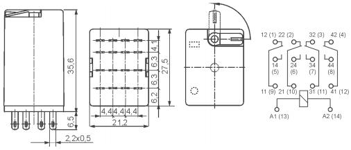 Габаритные размеры/схема подключения (вид со стороны винтовых зажимов)