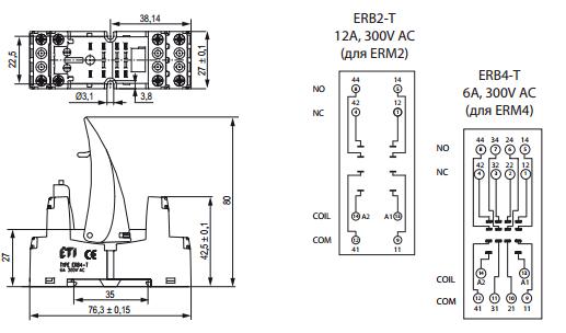 Габаритные размеры/схема подключения ETI