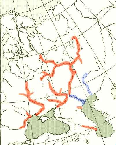 Осетр русский — Acipenser gueldenstaedtii: карта ареала (область распространения)