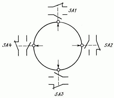 Электрическая схема переключателей ПК12-21-801, ПК12-21Д801, ПК12-21-802, ПК12-21Д802