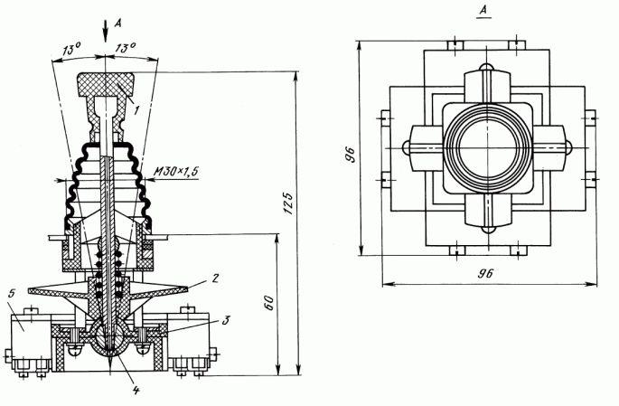 Общий вид и габаритные размеры крестовых переключателей ПК12-21-801 и ПК12-21-802