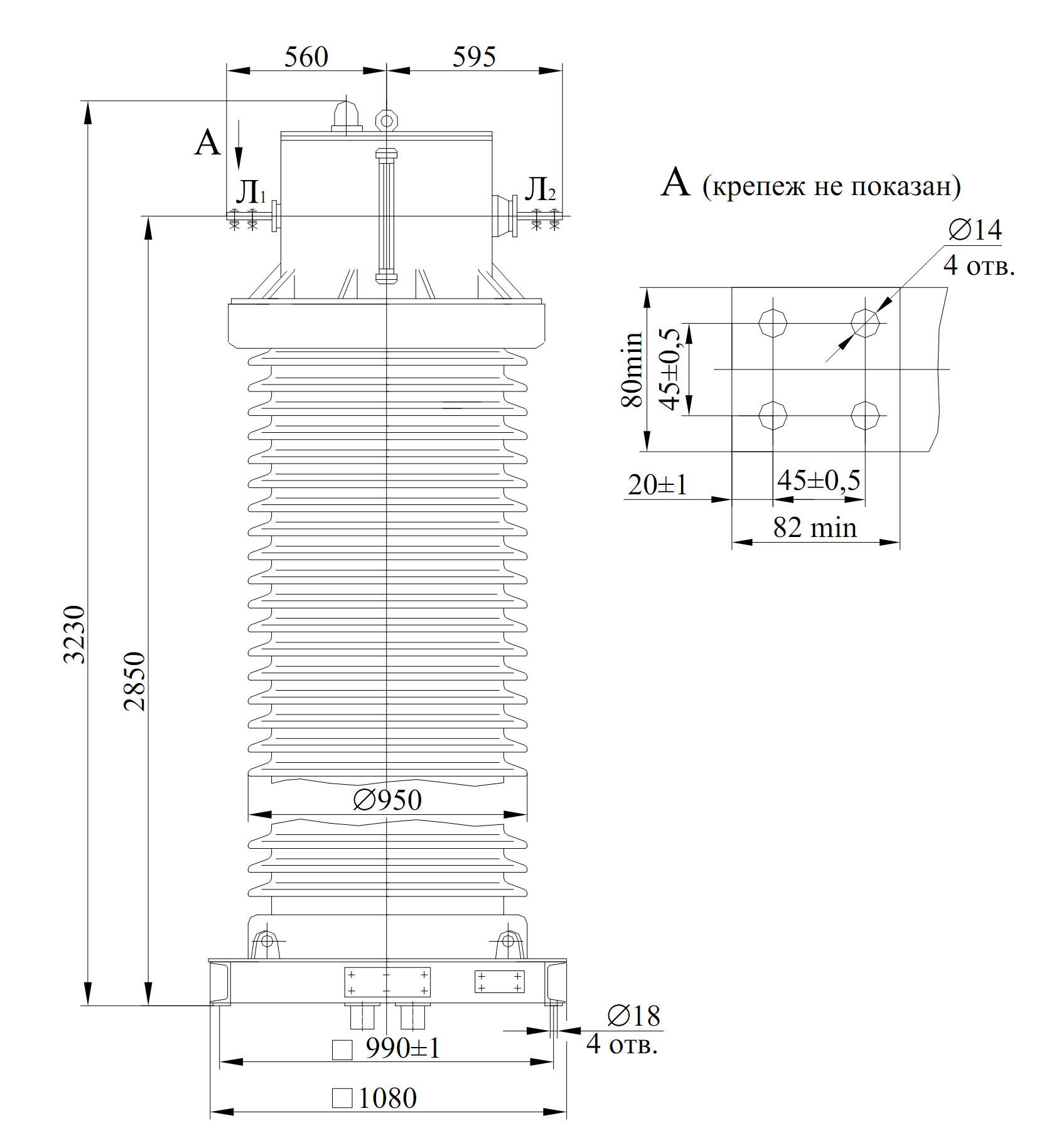 Чертеж трансформатора ТФЗМ-220 Б-IV (ТФЗМ-245 II-IV)