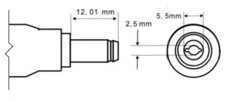 Физические размеры разъема 5.5 х 2.5 мм