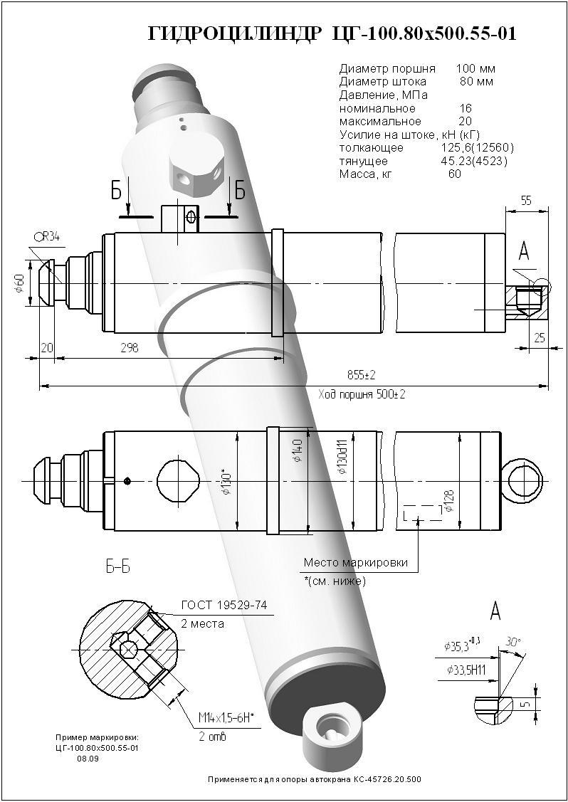 ЦГ-100.80х500.55.01 (КС-45726.31.200) фото схема характеристики