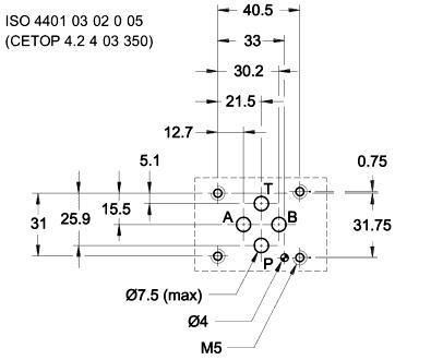 Монтажная поверхность (установочные размеры) гидрораспределителей Rexroth 4WE6...6X