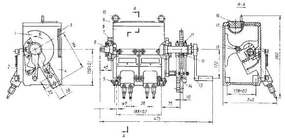 Рисунок 1 - Насос с четырьмя отводами и качательным приводом, расположенным справа