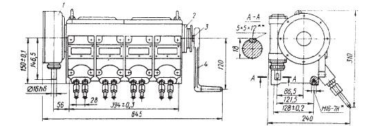 Рисунок 3 - Насос с восемью отводами и вращательным приводом, расположенным слева.