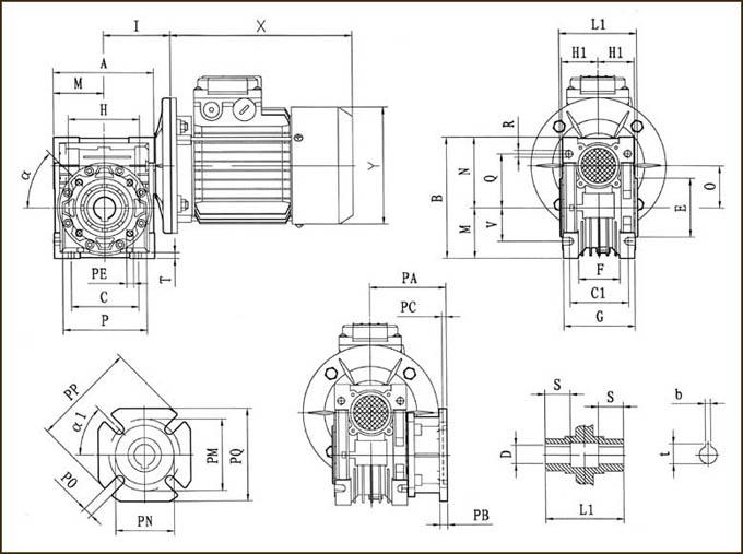 Габаритные и присоединительные размеры мотор-редукторов NMRV