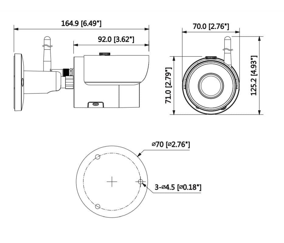 DH-IPC-HFW1300SP-W-размеры
