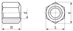 Гайка шестигранная высокая (H = 1,5d) DIN 6330. Чертёж