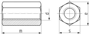 Гайка шестигранная удлинённая DIN 6334. Чертёж