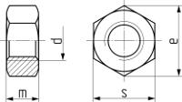 Гайка шестигранная DIN 934. Чертёж