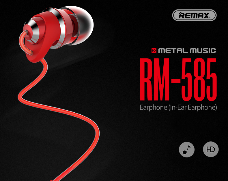 REMAX RM-585 3.5mm In-ear Stereo Metal Earphone for Samsung Xiaomi iPhone