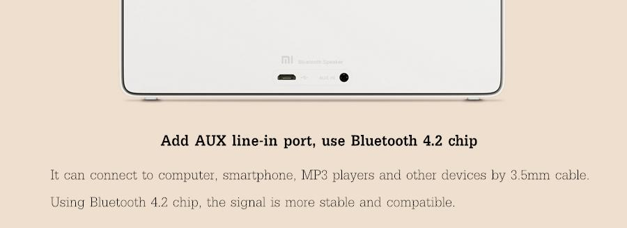 Original Xiaomi Площадь Коробка Ⅱ 1200mAh AUX Line-in Hands-free Wireless Bluetooth V4.2 Оратор With Mic