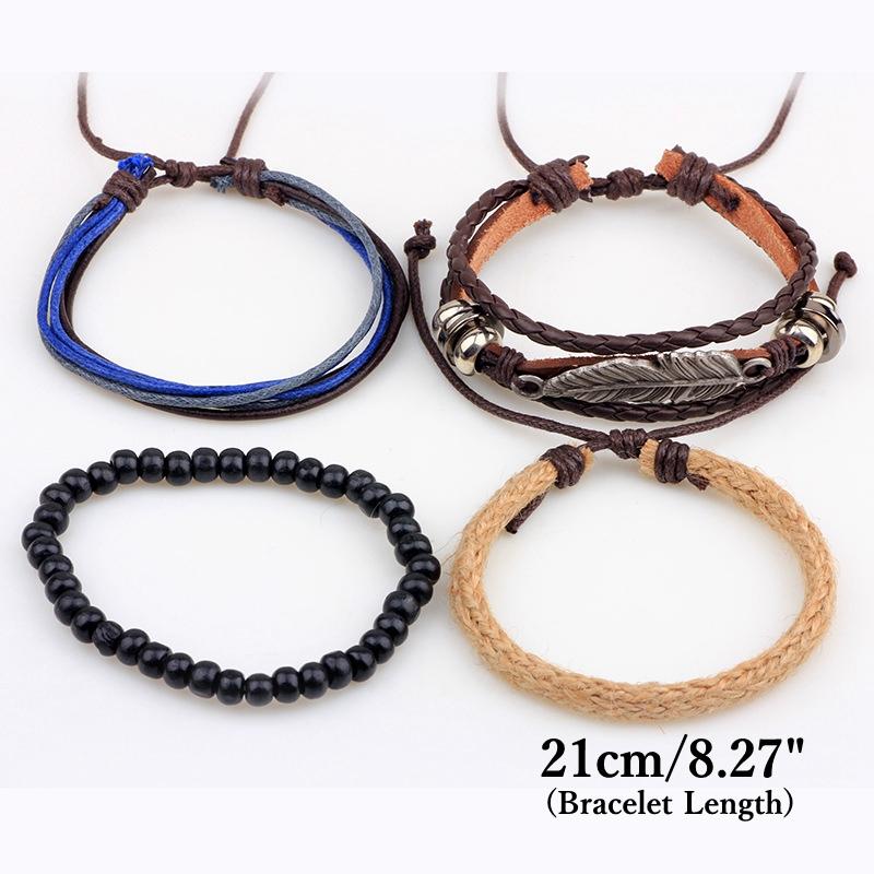 4 types Wood Beads Woven Leather Bracelet Leaf Pendant Unisex Bangle Chain
