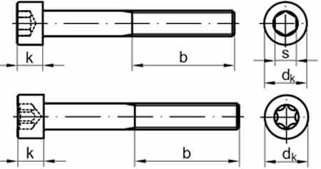 Винт с цилиндрической головкой и внутренним шестигранником