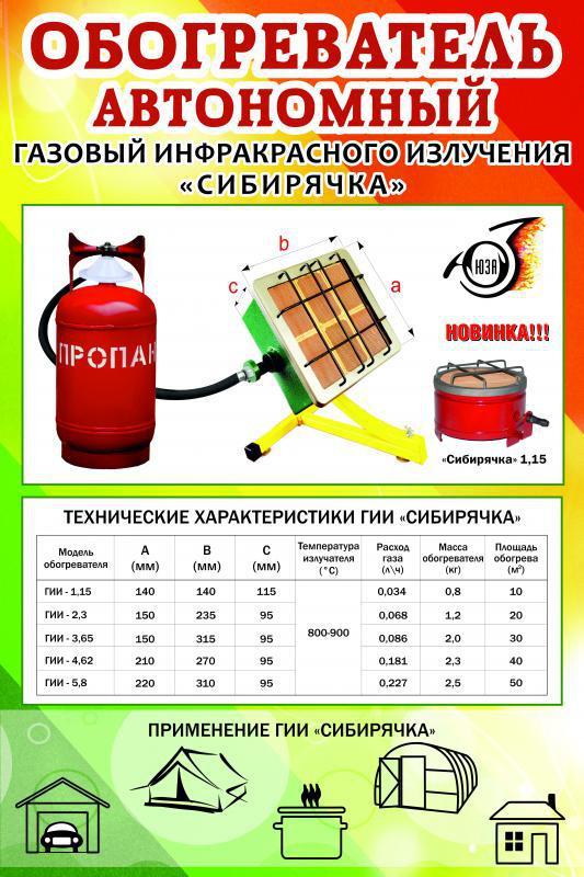 Обогреватель автономный газовый инфракрасного излучения «Сибирячка»