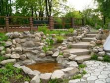 натуральный камень, пруд