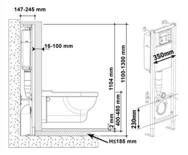 Рекомендуемые расстояния при монтаже инсталляции