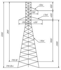 Опора промежуточная П110-5В, П110-5В+4 (вариант обозначения )