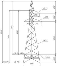 Опора анкерно-угловая У35-1, У35-1т, У35-1+5, У35-1т+5 (вариант обозначения )