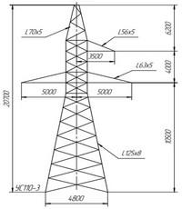 Опора анкерно-угловая УС110-3, УС110-3+5, УС110-3+9, УС110-3+14 (вариант обозначения )