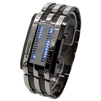 Бинарные Светодиодные Часы Браслет Stainless Steel 28 Blue LED Men