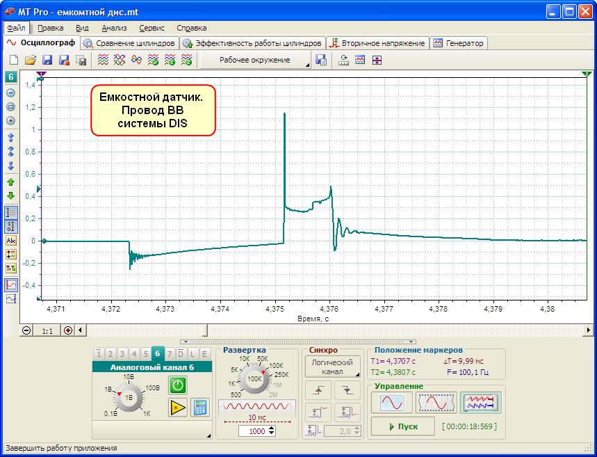 Пример осциллограммы снятой при помощи емкостного датчика: