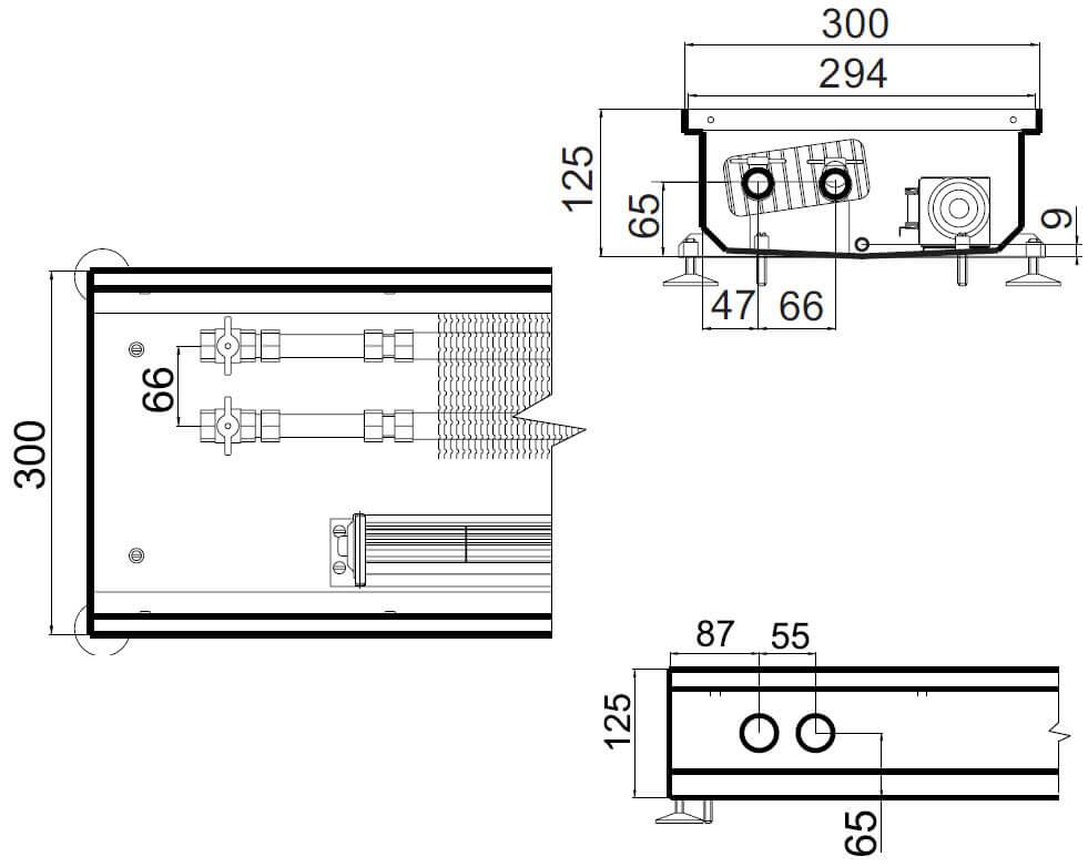 konvektory polvax prinuditelnoi konvekcii s 1 im teploobmennikom 300x125mm plus dlya vlagnyh pomesheniirazmery