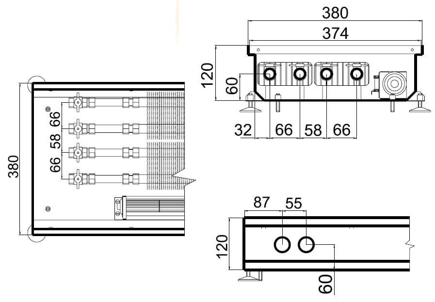 konvektory polvax prinuditelnoi konvekcii s 2 mya teploobmennikami 380x120mmrazmery