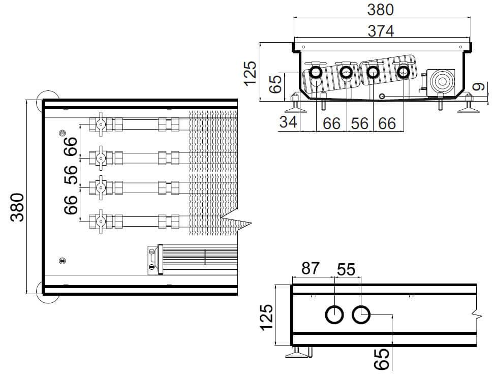 konvektory polvax prinuditelnoi konvekcii s 2 mya teploobmennikami 380x125mm plus dlya vlagnyh pomesheniirazmery