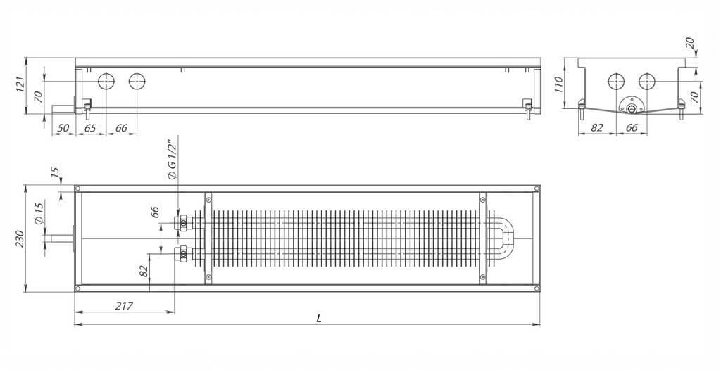 konvektory carrera c hydro 120 estestvennaya konvekciya odin teploobmennik 230x120mm s drenagnym otverstiemrazmery
