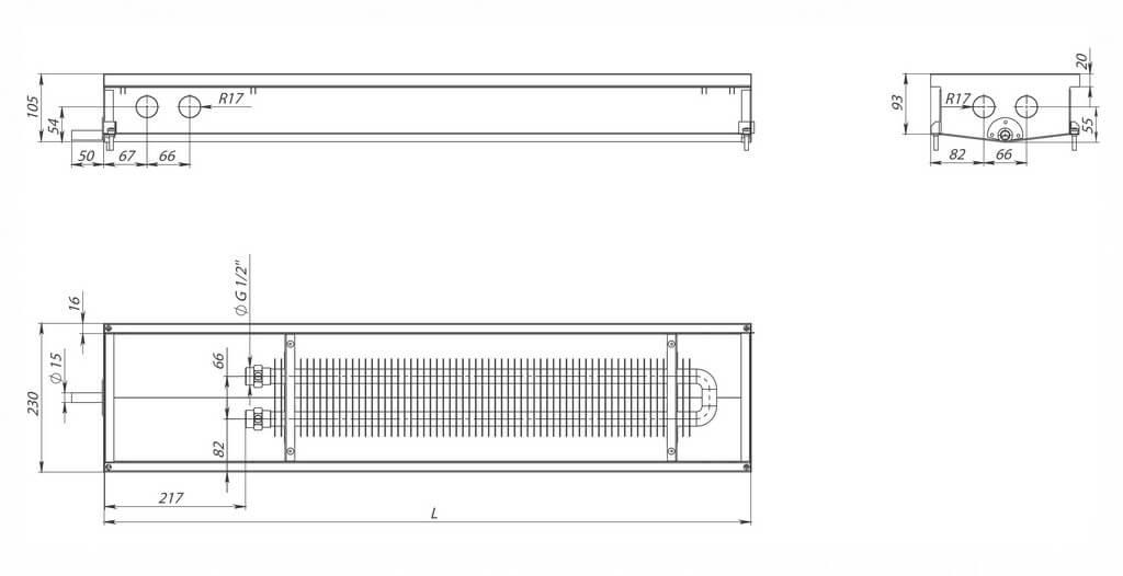 konvektory carrera c hydro 90 estestvennaya konvekciya odin teploobmennik 230x90mm s drenagnym otverstiemrazmery