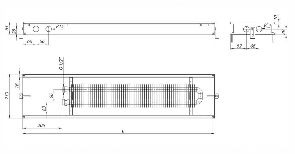 konvektory carrera m inox 65 estestvennaya konvekciya odin teploobmennik 230x65mm