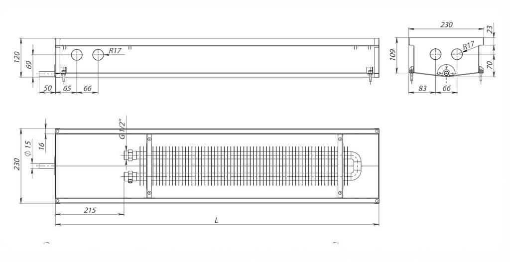 konvektory carrera s hydro 120 estestvennaya konvekciya odin teploobmennik 230x120mm s drenagnym otverstiemrazmery