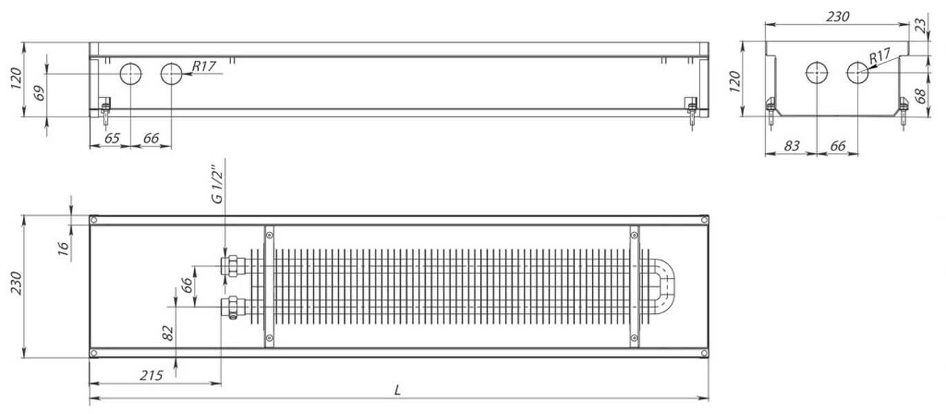 konvektory carrera s inox 120 estestvennaya konvekciya odin teploobmennik 230x120mm chertezh