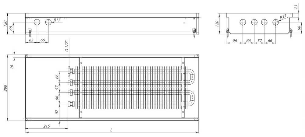 konvektory carrera s2 inox 120 estestvennaya konvektsiya dva teploobmennika 380x120mmrazmery