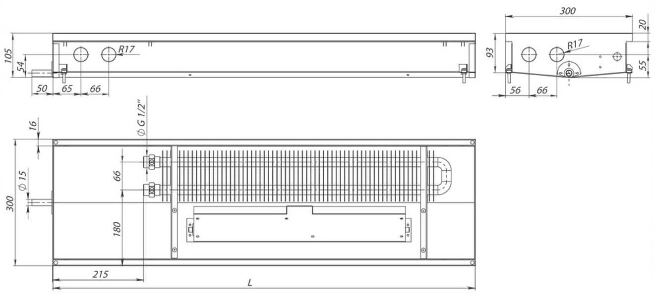 konvektory carrera sv hydro 90 prinuditelnaya konvekciya odin teploobmennik 300x90mm s drenagnym otverstiemrazmery1