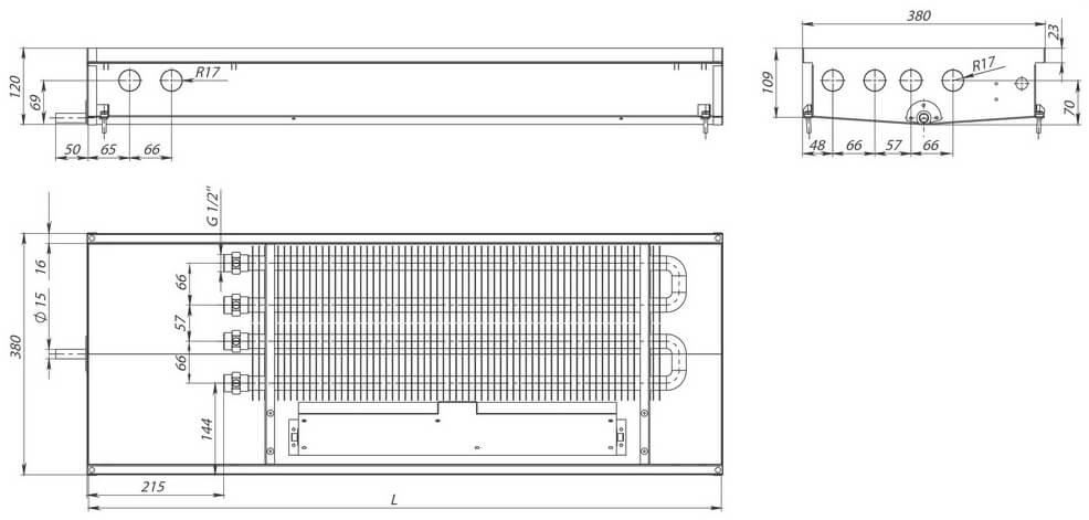 konvektory carrera sv2 hydro 120 prinuditelnaya konvektsiya dva teploobmennika 380x120mm s drenazhnym otverstiemrazmery