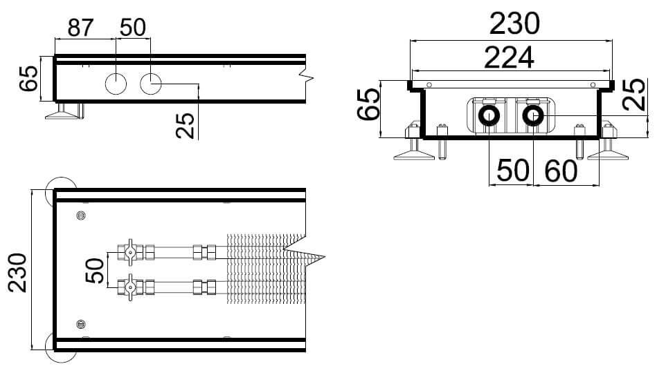 konvektory polvax estestvennoi konvekcii s 1 im teploobmennikom 230x65mmrazmery