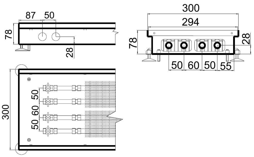 konvektory polvax estestvennoi konvekcii s 2 mya teploobmennikami 300x78mmrazmery
