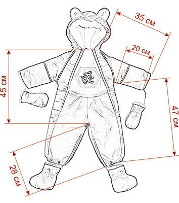 Размеры детских зимних комбинезонов Ушки и Карман