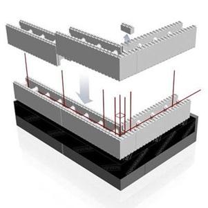 Схема установки блоков несъемной опалубки