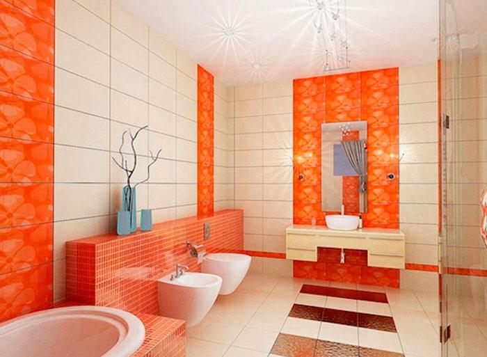 Оранжевый в ванной