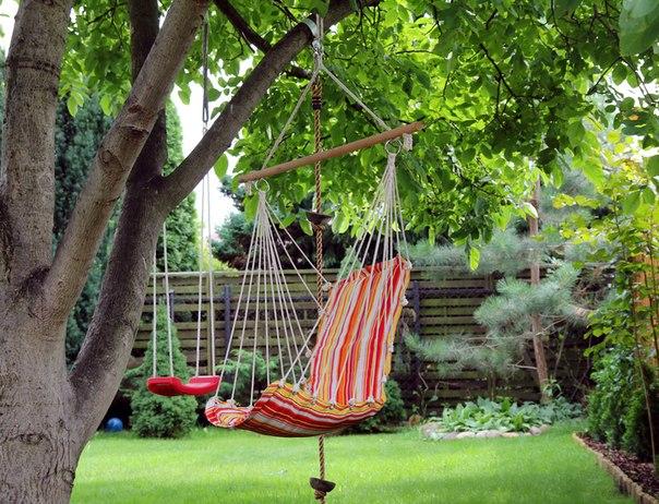 Гамак сидячий с деревянной планкой B06 подвесное кресло с спинкой гамак для сада дачи