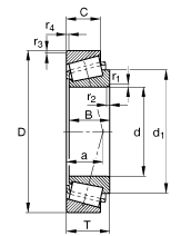 Схема однорядного роликового радиально-упорного подшипника
